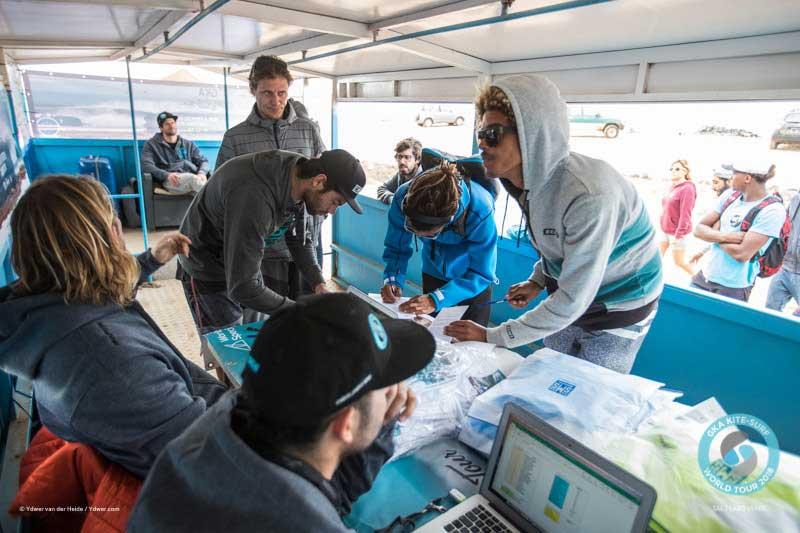 Riders signing registration GKA Cape Verde kitesurfing event
