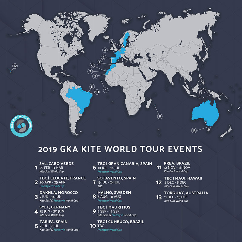 Calendario Tour De France 2019.Complete 2019 Gka Kite World Tour Event Calendar Gka Kite