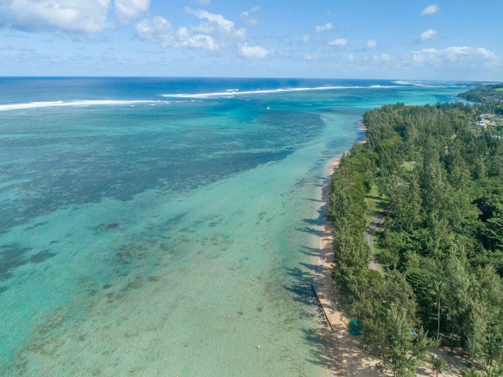 Looking down the lagoon at reef at Bel Ombre