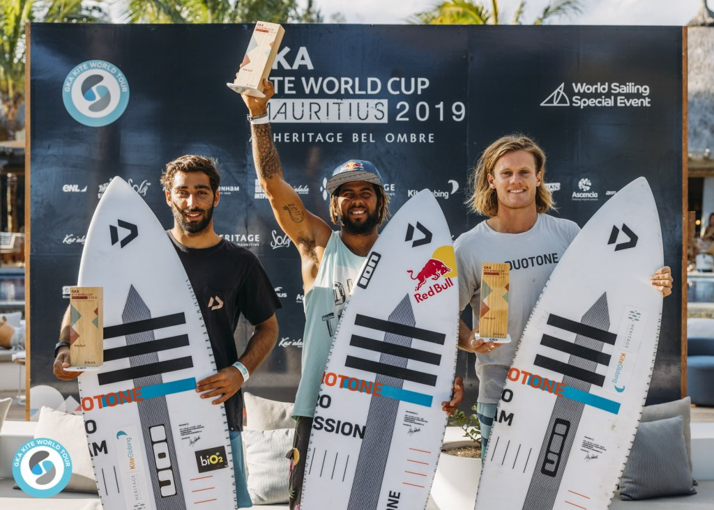 Men's Kite-Surf left to right: 3rd Sebastian Ribeiro (BRA) / 1st Airton Cozzolino (CV) / 2nd James Carew (AUS)