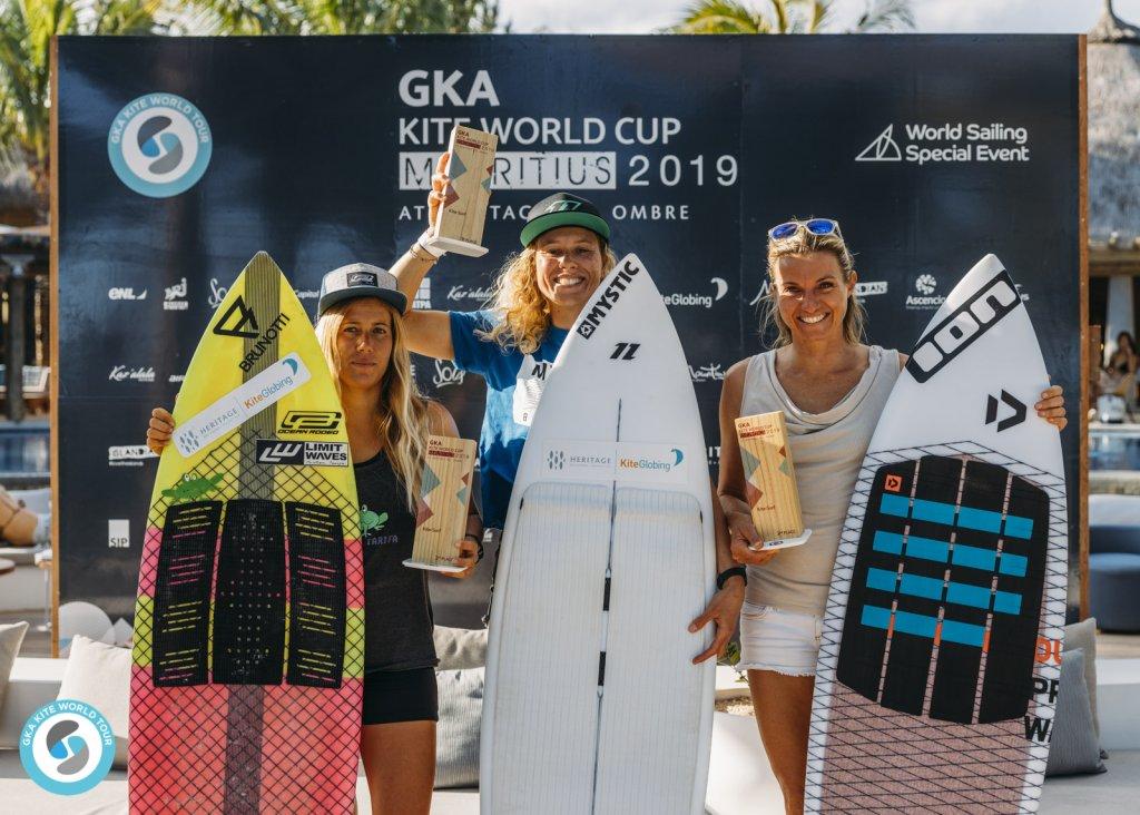 Women's Kite-Surf left to right: 3rd Carla Herrera-Oria / 1st Jalou Langeree (NED) / 2nd Ninja Ricot (MRU)