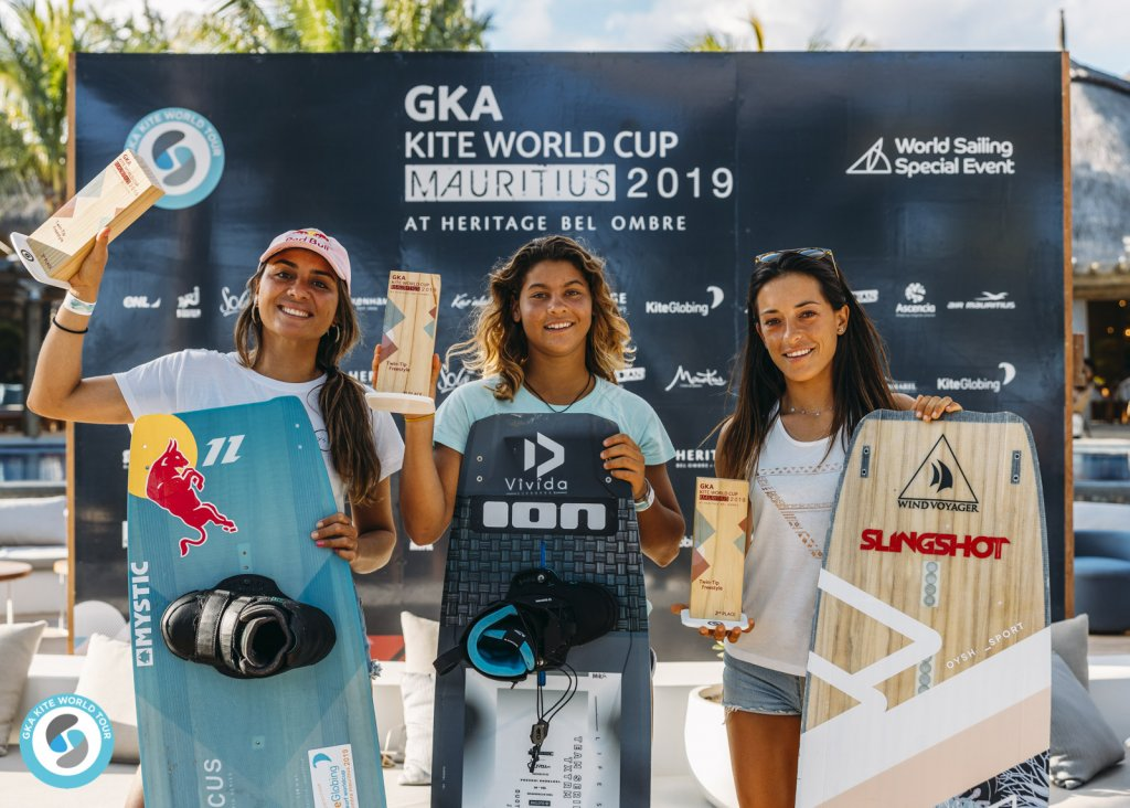 Women's Freestyle left to right: 3rd Bruna Kajiya (BRA) / 1st Mikaili Sol (BRA) / 2nd Rita Arnaus (ESP)